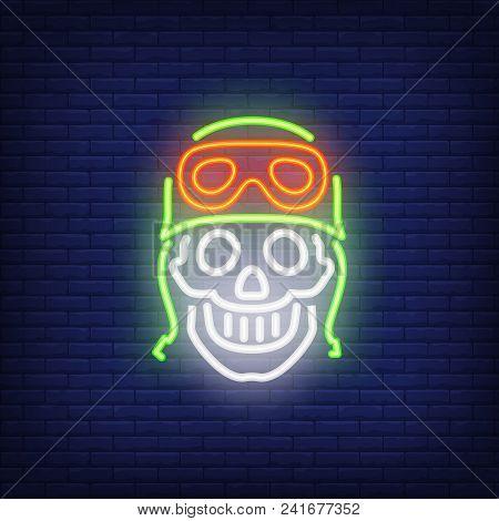 Human Skull In Helmet On Brick Background. Neon Style Vector Illustration. Bikers Club, Motocross, M