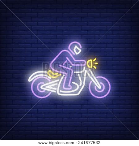 Man Riding Motorcycle On Brick Background. Neon Style Vector Illustration. Bikers Club, Motorcycle C