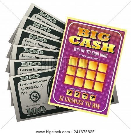 Realistic Vector Illustration Of Lottery Ticket And Bundle Of Money. Big Cash, Winning Number, Bankn