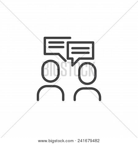 People With Chat Bubble Outline Icon. Linear Style Sign For Mobile Concept And Web Design. Conversat