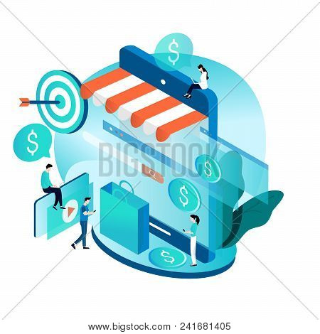 Modern Isometric Concept For Online Shopping, E-commerce, Internet Store, Purchasing Online Vector I