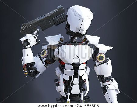 3d Rendering Of A Futuristic Robot Police Or Soldier Holding A Gun To His Head, Ready To Self-destru