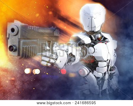 3d Rendering Of A Futuristic Robot Police Or Soldier Holding Up A Gun With Fire And Smoke Around Him