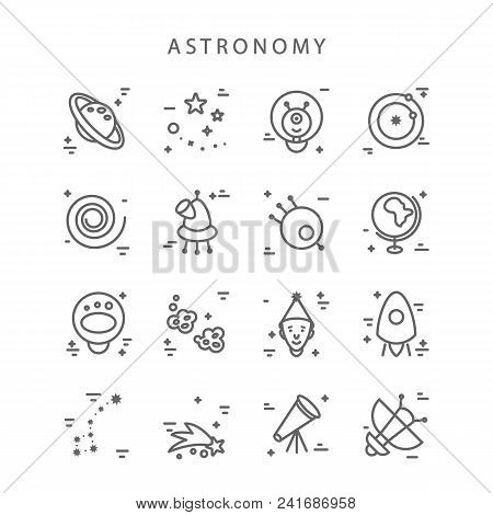 Space Icons Made In Modern Line Style Vector. Cosmos Icons Isolated On Background And Easy To Use. C