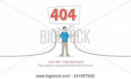 Error 404 Page Layout Vector Design. Website 404 Page Error With Service Man And Broken Connection C