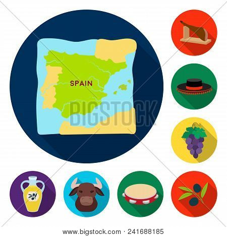 Spain Country Flat Icons In Set Collection For Design.travel And Attractions Vector Symbol Stock  Il