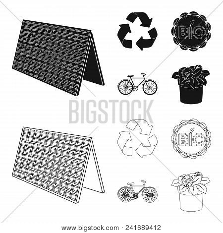 Bio Label, Eco Bike, Solar Panel, Recycling Sign.bio And Ecology Set Collection Icons In Black, Outl
