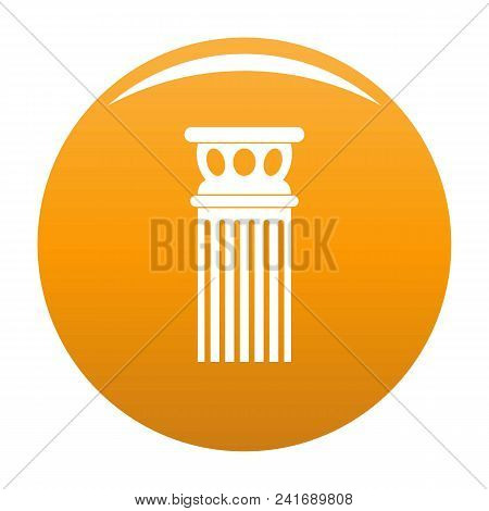 Ancient Column Icon. Simple Illustration Of Ancient Column Vector Icon For Any Design Orange