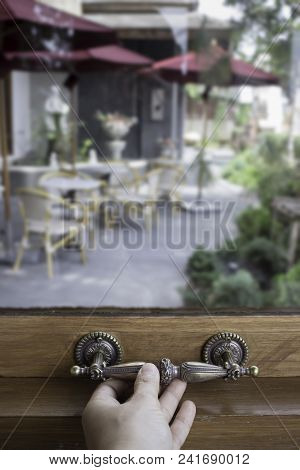 Glass Wooden Frame Window In Small Cafe, Stock Photo