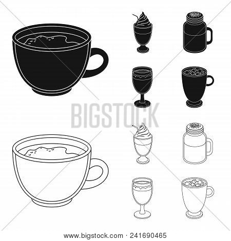 Esprecco, Glase, Milk Shake, Bicerin.different Types Of Coffee Set Collection Icons In Black, Outlin