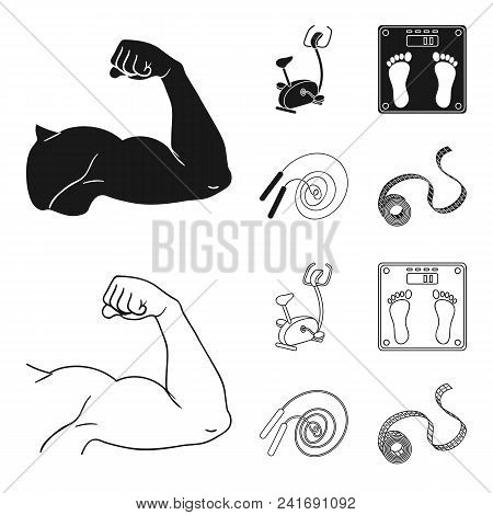 Biceps, Exercise Bike, Scales For Weighing, Skalka. Fitnes Set Collection Icons In Black, Outline St