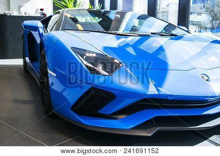 Tallinn, Estonia, April 23 2018: Front View Of A New Lamborghini Aventador S Coupe. Headlight. Car D