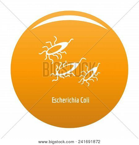 Escherichia Coli Icon. Simple Illustration Of Escherichia Colin Vector Icon For Any Design Orange