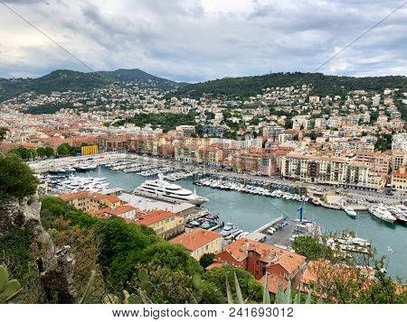 NICE, FRANCE - MAY 21, 2018: The view from the Parc du Château over the Port of Nice, South of France.