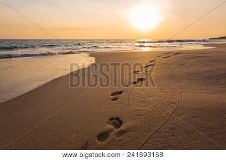 Landscape Of Sunset On Paradise Tropical Beach In Sri Lanka