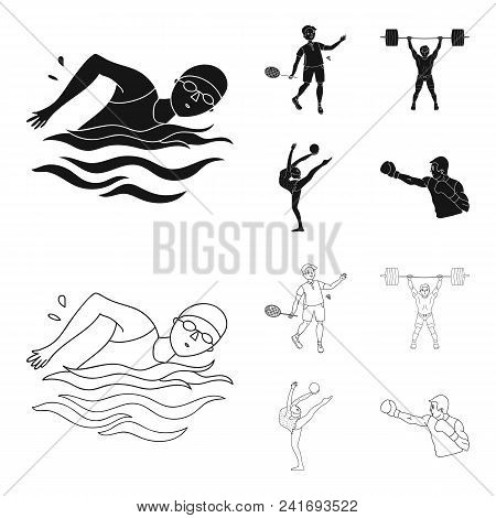 Swimming, Badminton, Weightlifting, Artistic Gymnastics. Olympic Sport Set Collection Icons In Black