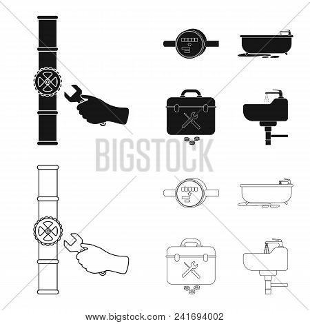 Water Meter, Bath And Other Equipment.plumbing Set Collection Icons In Black, Outline Style Vector S