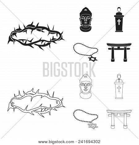 A Crown Of Thorns, A Star Of David, A Priest, A Buddha Head. Religion Set Collection Icons In Black,