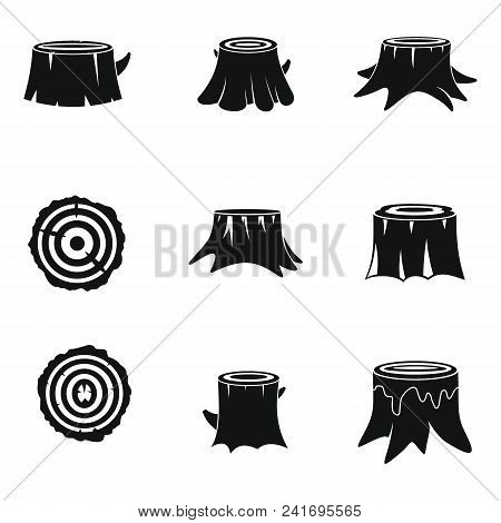 Stumps Tree Log Wood Icons Set. Simple Illustration Of 16 Stumps Tree Log Wood Vector Icons For Web