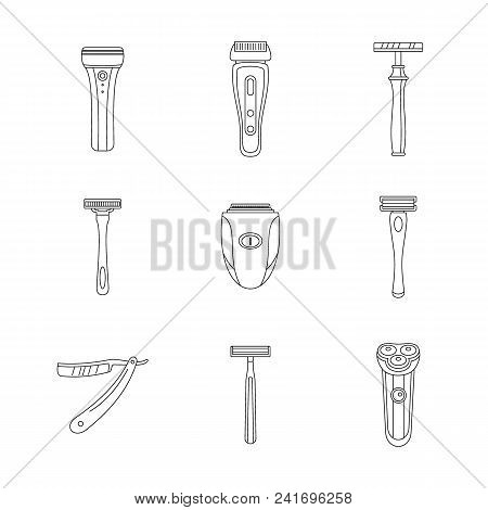 Shaver Blade Razor Personal Icons Set. Outline Illustration Of 9 Shaver Blade Razor Personal Vector
