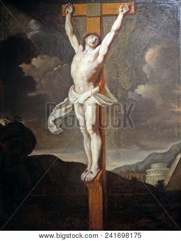ZAGREB, CROATIA - APRIL 07: Crucifixion, French school, follower of Charles le Brun, oil on canvas, 17 century, the Passion in Art from Mimara Museum in Zagreb, Croatia, on April 07, 2017.