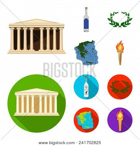 Greece, Country, Tradition, Landmark .greece Set Collection Icons In Cartoon, Flat Style Vector Symb
