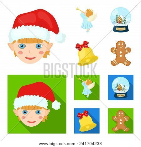 Angel, Glass Bowl, Gingerbread And Bell Cartoon, Flat Icons In Set Collection For Design. Christmas
