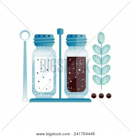 Salt And Pepper, Pair Of Glass Shakers With Cap, Ingredient Of Culinary Condiment, Element For Resta