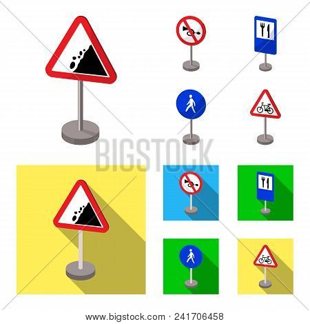 Different Types Of Road Signs Cartoon, Flat Icons In Set Collection For Design. Warning And Prohibit