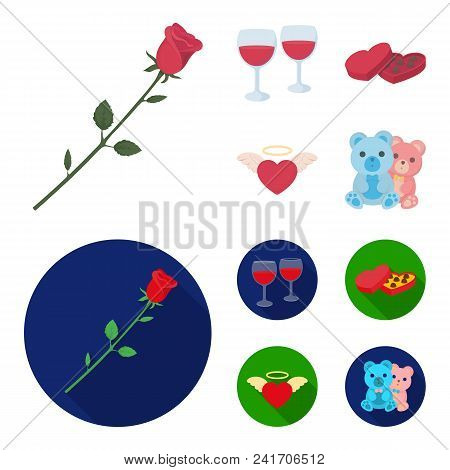Glasses With Wine, Chocolate Hearts, Bears, Valentine.romantik Set Collection Icons In Cartoon, Flat