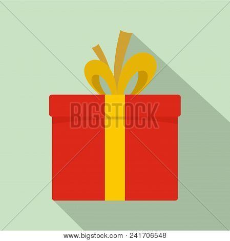 Red Giftbox Icon. Flat Illustration Of Red Giftbox Vector Icon For Web Design