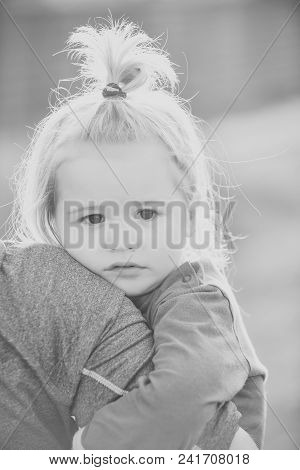 Child Childhood Children Happiness Concept. Kid Hold Father Hand On Blurred Natural Environment. Chi