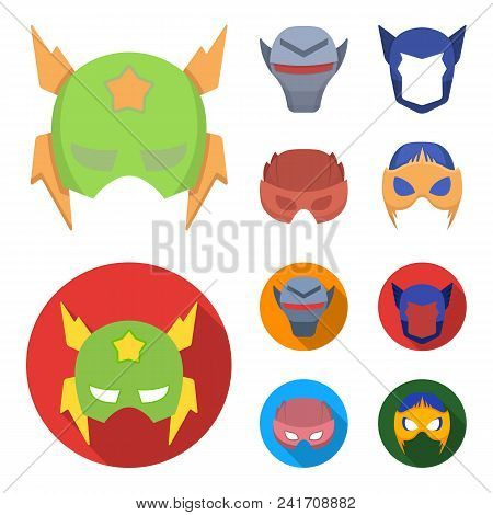 Helmet, Mask On The Head.mask Super Hero Set Collection Icons In Cartoon, Flat Style Vector Symbol S