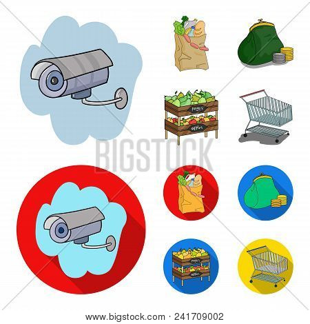 Sausages, Fruit, Cart .supermarket Set Collection Icons In Cartoon, Flat Style Vector Symbol Stock I