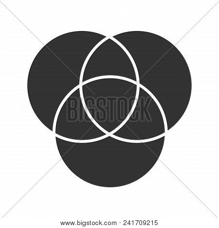 Cmyk Or Rgb Color Circles Glyph Icon. Silhouette Symbol. Venn Diagram. Overlapping Circles. Negative