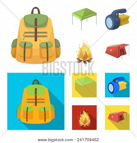 Awning, Fire And Other Tourist Equipment.tent Set Collection Icons In Cartoon, Flat Style Vector Sym