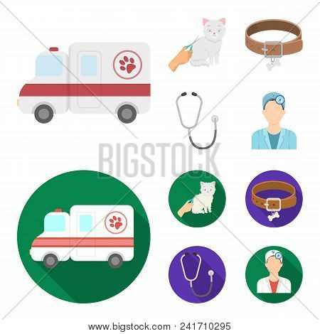 Collar, Bone, Cat, Haircut .vet Clinic Set Collection Icons In Cartoon, Flat Style Vector Symbol Sto
