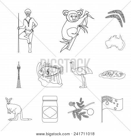 Country Australia Outline Icons In Set Collection For Design.travel And Attractions Vector Symbol St