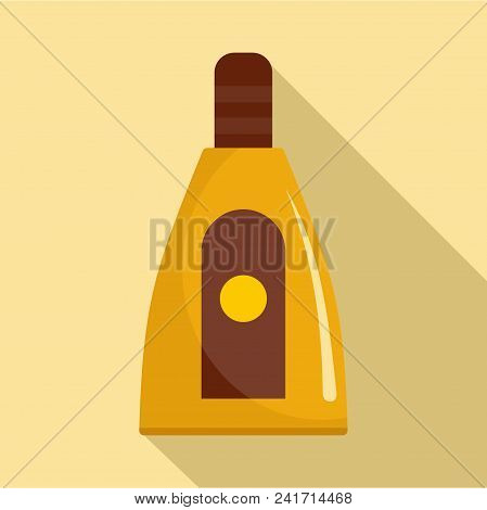 Sun Lotion Icon. Flat Illustration Of Sun Lotion Vector Icon For Web Design