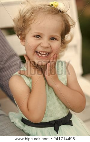 Child Childhood Children Happiness Concept. Girl Child With Blond Hair Smile In Summer Dress. Happy