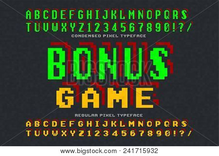 Pixel Vector Font Design, Stylized Like In 8-bit Games. High Contrast, Retro-futuristic, 2 In 1. Eas