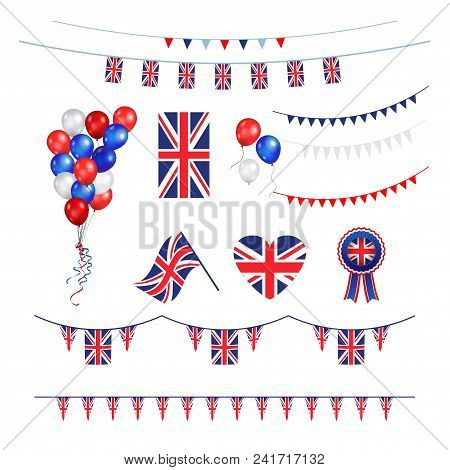 Union Jack Flag And Objects For Design. United Kingdom Symbols Set Flag, Badge, Emblem, Rosett, Ball