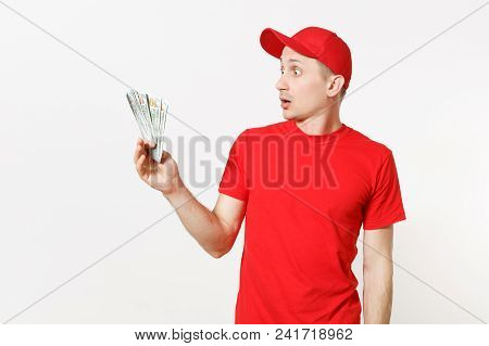 Delivery Man In Red Uniform Isolated On White Background. Professional Male In Cap, T-shirt Working