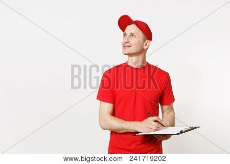 Delivery Man In Red Uniform Isolated On White Background. Male In Cap, T-shirt Working As Courier Or