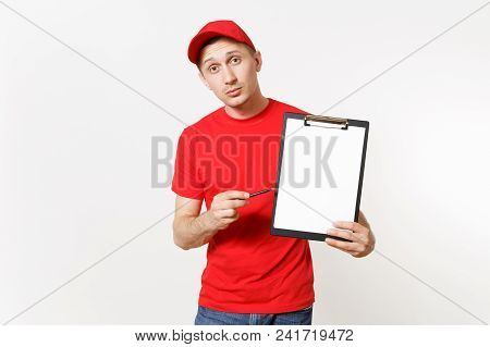 Delivery Man In Red Uniform Isolated On White Background. Male In Cap, T-shirt, Jeans Working As Cou
