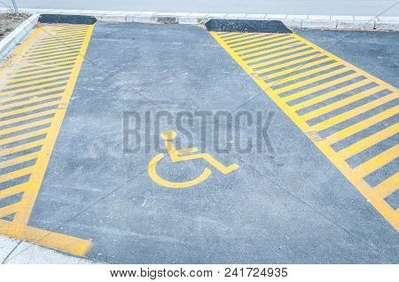 Handicapped Disabled Icon Sign On Parking Lot Or Space Area In Car Park In The City Street