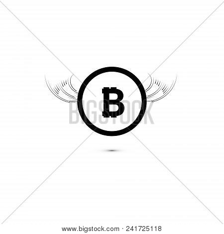 Bitcoin Cripto Currency Blockchain. Bitcoin Flat Logo On Whitebackground. Bitcoin With Wings.