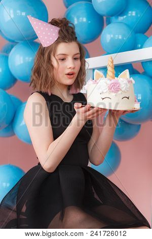 Girl's Birthday Party With Colorful Pastel Decoration And Unicorn Cake. Teenager Birthday Party In P