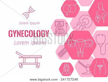 Gynecology Flat Banner With Line Icons Of Pregnancy And Childbirth Obstetrics Fetus Symbol Diagnosti