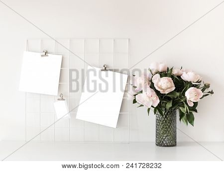 White Studio Room Interior With Posters Mock-up, Scandinavian Style Home Loft Decor With Peony Flowe